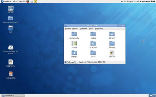 Takto vypadá základní prostředí GNOME chvilku po instalaci