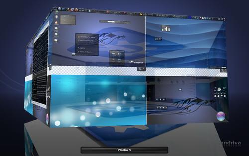 Pohled na plochy v prostředí KDE4 prostřednictvím 3D objektu