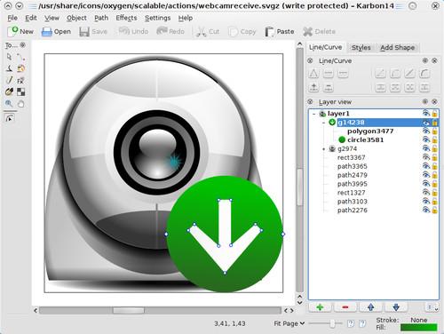 Karbon, editor vektorové grafiky, zdroj koffice.org