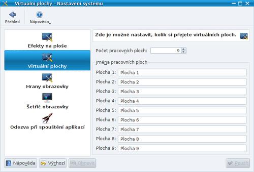 Nastavení virtuálních ploch v KDE4