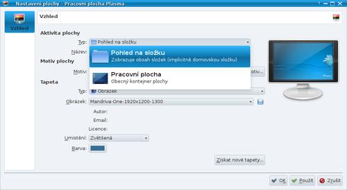 Nastavení typu plochy v KDE4