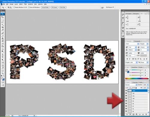 Koláž ve formátu PSD ve Photoshopu, zdroj shapecollage.com