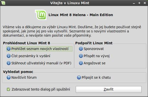 Uvítací obrazovka v Linux Mintu