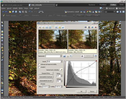 ZPS – editace obrázku, křivky