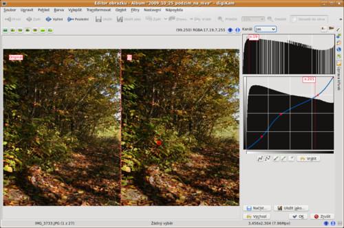 digiKam– editace obrázku, křivky
