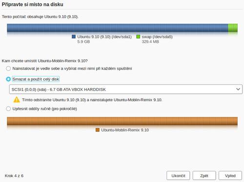 Rozdělení disku, stejně jako celý instalátor, je naprosto stejné jako v Ubuntu