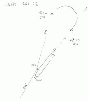 Hrubý nákres přiblížení na LKMT RWY 22