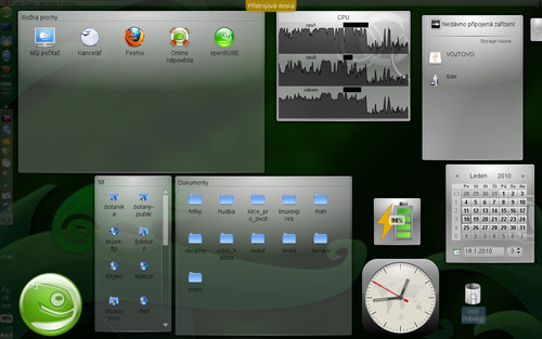 Zobrazení přístrojové desky obdobné Mac OS X. Po stisku [Ctrl+F12] jsou aktivní jen plasmoidy na ploše, vše ostatní (včetně otev
