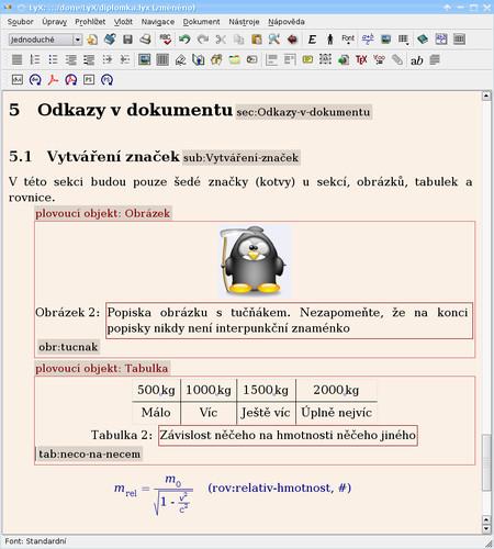 Značky (kotvy) v dokumentu u nadpisů, pod popisky obrázku a tabulky a nakonec i u rovnice