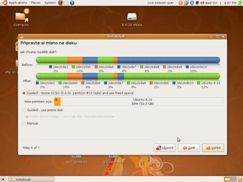 Dělení disku v Ubuntu 8.10