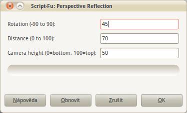 Dialogové okno s nastavením skriptu