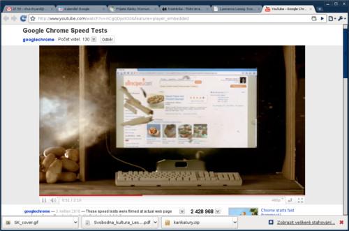 Google Chrome s videem předvádějícím jeho rychlost