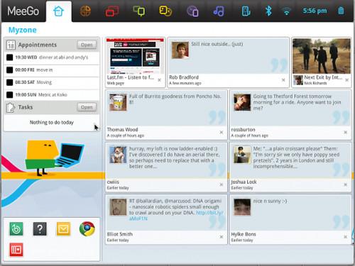 Grafické prostředí připomíná Moblin, zdroj meego.com