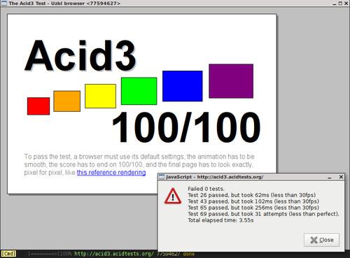 Testovací stránka webových standardů projektu Acid3
