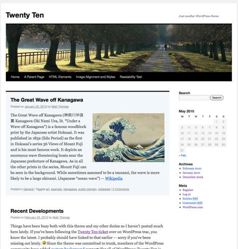 Nový vzhled Twenty Ten, zdroj wordpress.org