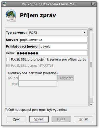 Dále vyplňte servery pro příchozí poštu