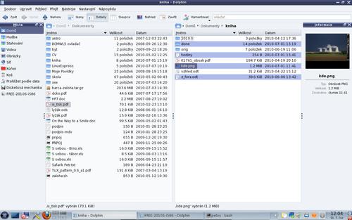 Správce souborů KDE Dolphin v dvoupanelové úpravě
