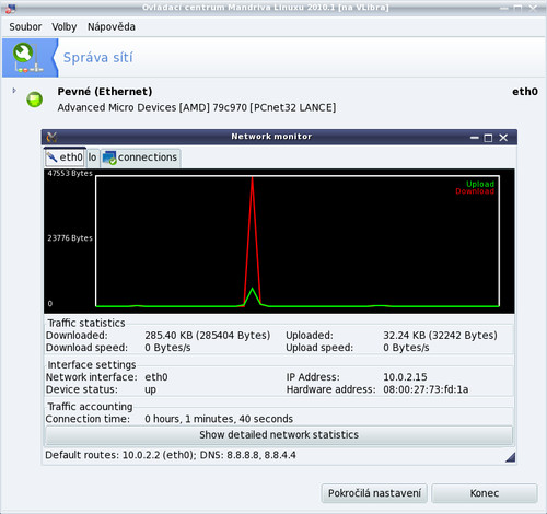 ..který dovoluje i sledovat síťový provoz a počítat statistiky