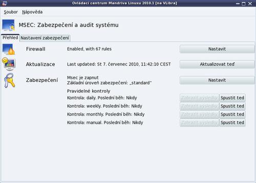 Centrum zabezpečení vašeho počítače MSECGui