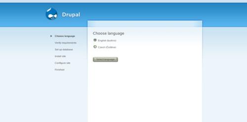 První krok instalace po připojení k www.mujnovydrupal.cz, výběr jazyka