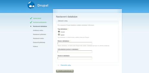 Nastavení databáze pro Drupal