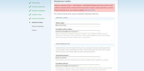 Základní nastavení webu: jméno, kontakt a administrátor