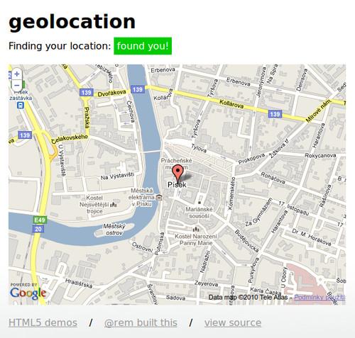 Ukázka geolokační funkce
