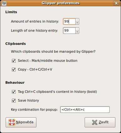 Glipper - nastavení