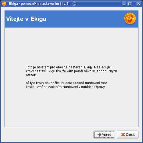 První instalační okno programu Ekiga