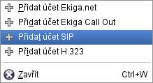 Přidání SIP účtu