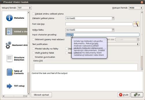 Nastavení kódové stránky vstupního souboru v Calibre