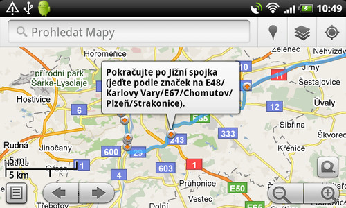 Google Maps může fungovat také jako navigace