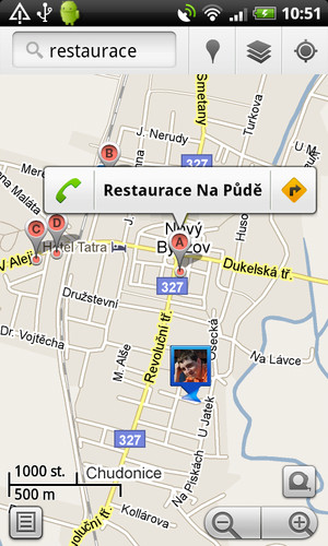 Výsledky z Google Maps na výraz restaurace v okolí