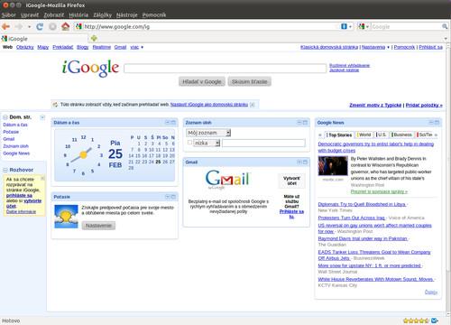 Štandardná obrazovka iGoogle