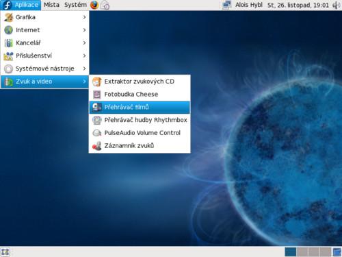 Multimediální software hned po instalaci distribuce Fedora 10