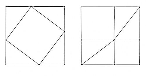 Poškození grafického důkazu Pythagorovy věty opakovaným provedením fotokopie