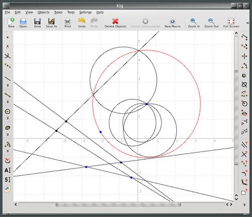 Kruhová inverze v programu Kig
