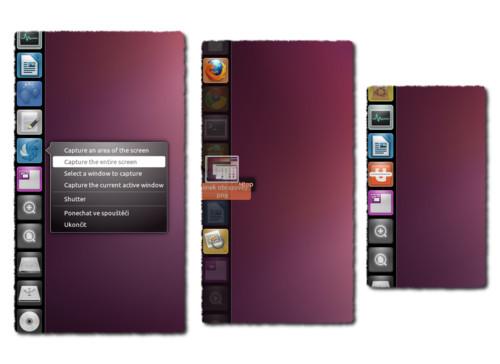Zleva: Nabídka Quicklist u Shutteru, otevírání souborů přetažením na Launcher a ukazatel průběhu u Ubuntu One