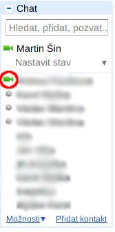 Panel Chat se seznamem kamarádů, zeleně jsou zvýrazněni přihlášení uživatelé
