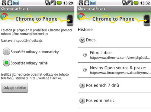 Chrome to Phone – odkazy z telefonu do počítače, značka: rychle
