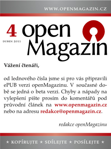 Kliknutím na obrázek stáhnete openMagazin 04/2011 ve formátu ePub
