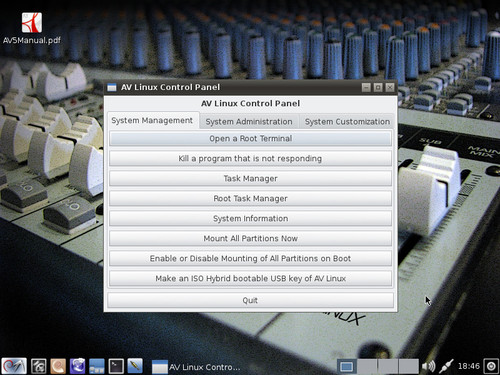 AV Linux Control Panel – System Management