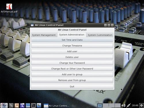 AV Linux Control Panel – System Administration