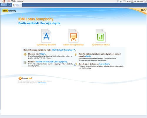Úvodní obrazovka, na výběr je Textový editor, Tabulkový editor a Nástroj pro tvorbu prezentací