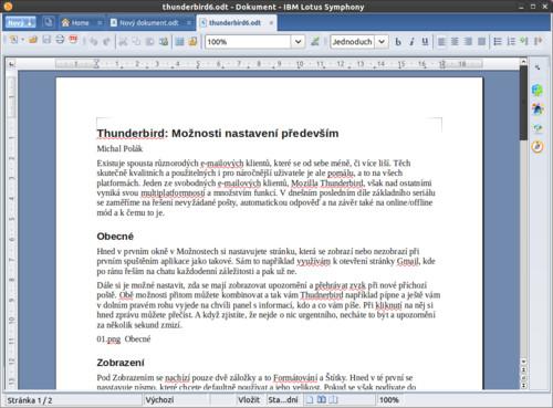 Textový editor v okně, všimnout si můžete funkční kontroly textu