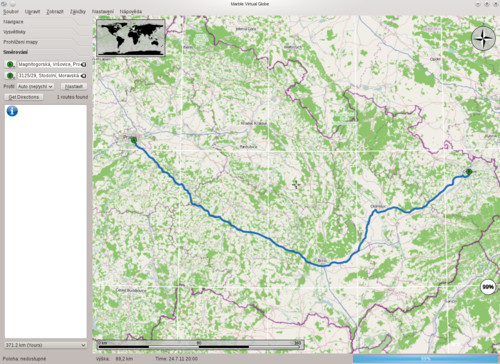 Vyhledávání trasy v programu Marble