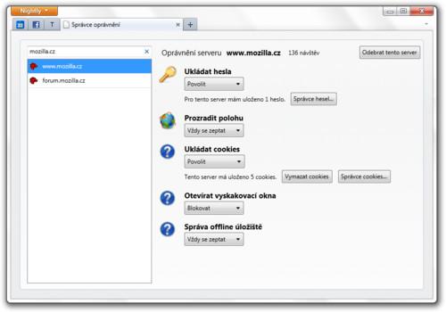 Mozilla Firefox 6 – Správce oprávnění