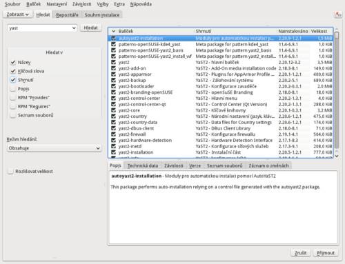 Správce programů – Vyhledávání – grafický režim