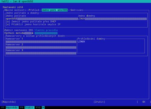 Síť – Jméno počítače/DNS – textový režim