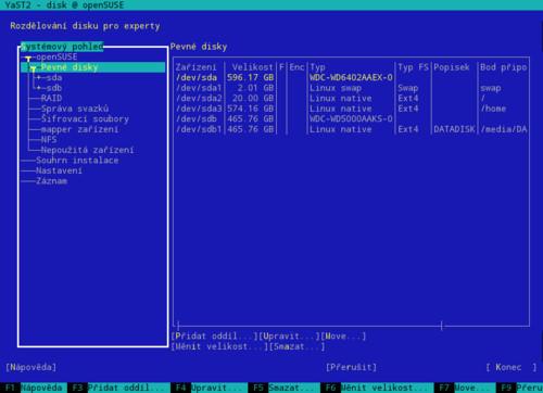 Dělení disku – Seznam disků – textový režim